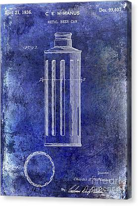 Stein Canvas Print - 1936 Beer Can Patent Blue by Jon Neidert
