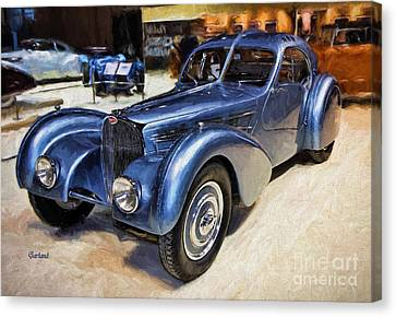 1936 Bugatti Painting.  Canvas Print