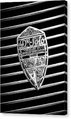 1936 Desoto Airstream Grille Emblem -1886bw Canvas Print
