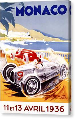 1936 F1 Monaco Grand Prix  Canvas Print by Georgia Fowler
