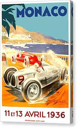 1936 Monaco Grand Prix Race Poster Canvas Print by Retro Graphics