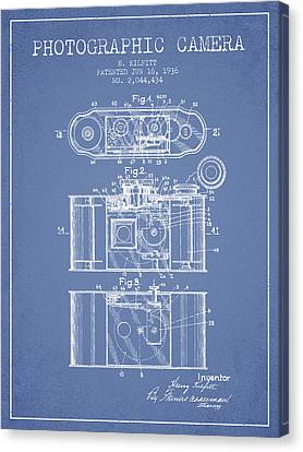 1936 Photographic Camera Patent - Light Blue Canvas Print