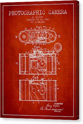 1936 Photographic Camera Patent - Red Canvas Print by Aged Pixel