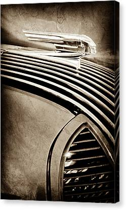 Canvas Print featuring the photograph 1936 Pontiac Hood Ornament -1140s by Jill Reger