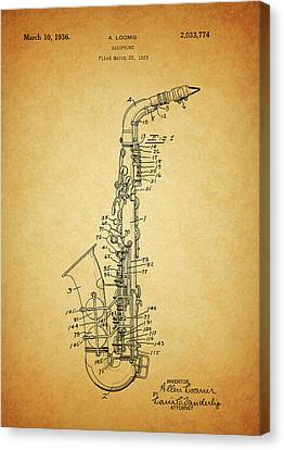Classical Music Canvas Print - 1936 Saxophone Patent by Dan Sproul