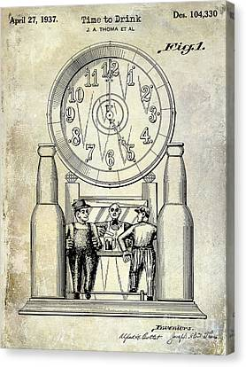 1937 Beer Clock Patent Canvas Print