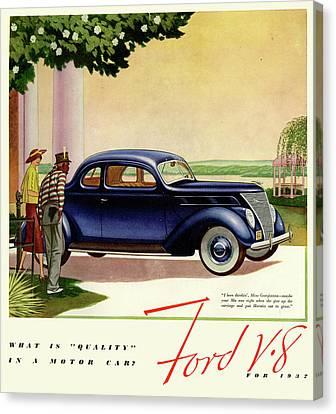1937 Ford Car Ad Canvas Print