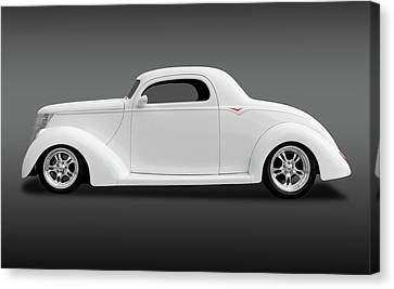Canvas Print featuring the photograph 1937 Ford Coupe  -  1937ford3wincoupefa172185 by Frank J Benz