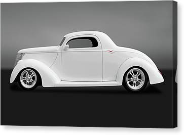 Canvas Print featuring the photograph 1937 Ford Coupe  -  1937ford3windowcpegry172185 by Frank J Benz