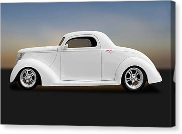Canvas Print featuring the photograph 1937 Ford Coupe  -  1937fordcoupe172185 by Frank J Benz