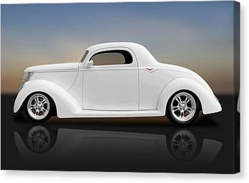 Canvas Print featuring the photograph 1937 Ford Coupe  -  1937fordcoupereflect172185 by Frank J Benz