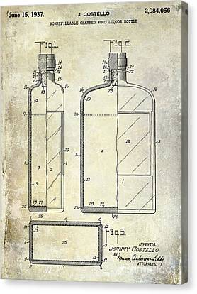 Flask Canvas Print - 1937 Liquor Bottle Patent  by Jon Neidert