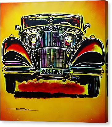 Canvas Print featuring the painting 1937 Mercedes Benz First Wheel Down by Eric Dee