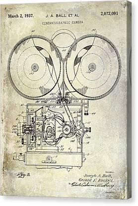 1937 Motion Picture Camera Patent Canvas Print by Jon Neidert