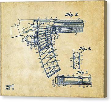 1937 Police Remington Model 8 Magazine Patent Minimal - Vintage Canvas Print by Nikki Marie Smith