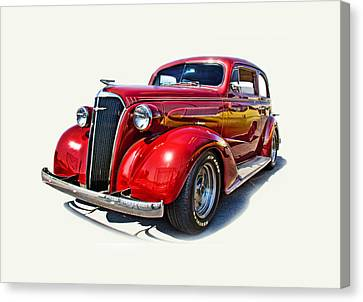 1937 Red Chevy Master Deluxe Canvas Print by Mamie Thornbrue