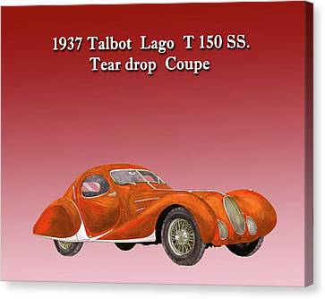 1937 Talbot Lago Teardrop Coupe Canvas Print by Jack Pumphrey