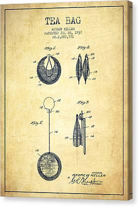 1937 Tea Bag Patent 02 - Vintage Canvas Print by Aged Pixel