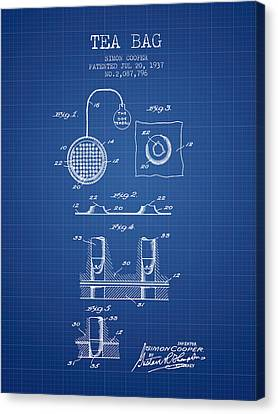 1937 Tea Bag Patent - Blueprint Canvas Print by Aged Pixel