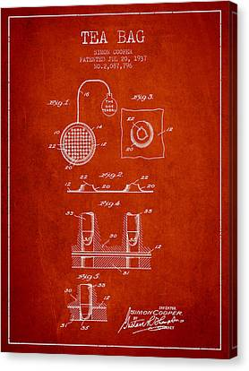 Bistro Canvas Print - 1937 Tea Bag Patent - Red by Aged Pixel