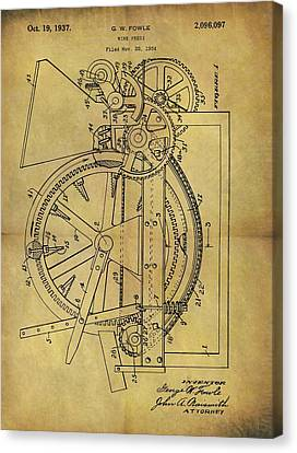 1937 Wine Press Patent Canvas Print