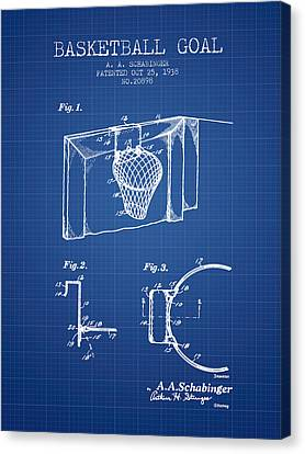 1938 Basketball Goal Patent - Blueprint Canvas Print by Aged Pixel
