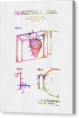 1938 Basketball Goal Patent - Color Canvas Print by Aged Pixel