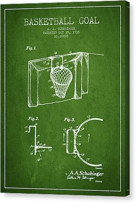 1938 Basketball Goal Patent - Green Canvas Print by Aged Pixel