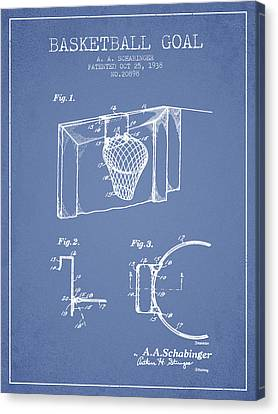1938 Basketball Goal Patent - Light Blue Canvas Print by Aged Pixel