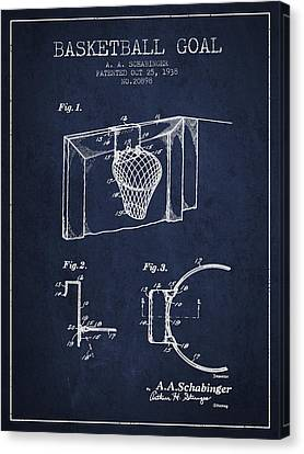 1938 Basketball Goal Patent - Navy Blue Canvas Print by Aged Pixel