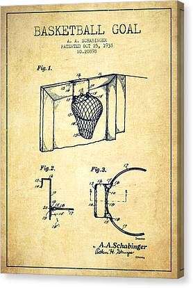 1938 Basketball Goal Patent - Vintage Canvas Print by Aged Pixel