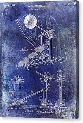 1938 Bass Drum Pedal Patent Blue Canvas Print by Jon Neidert