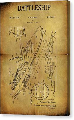 Us Navy Canvas Print - 1938 Battleship Patent by Dan Sproul