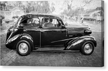 1938 Chevrolet 2 Door Sedan Deluxe C121 Bw Canvas Print