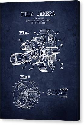 1938 Film Camera Patent - Navy Blue - Nb Canvas Print by Aged Pixel