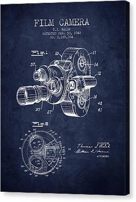 1938 Film Camera Patent - Navy Blue - Nb Canvas Print