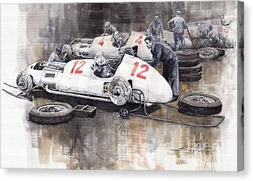Mercedes Benz Canvas Print - 1938 Italian Gp Mercedes Benz Team Preparation In The Paddock by Yuriy  Shevchuk