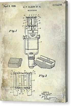 1938 Microphone Patent Drawing Canvas Print by Jon Neidert