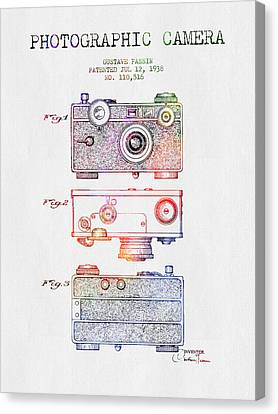 1938 Photographic Camera Patent - Color Canvas Print by Aged Pixel