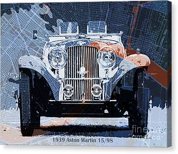 1939 Aston Martin 15-98 Over New Orleans Vintage Blue And Orange Map Canvas Print by Pablo Franchi