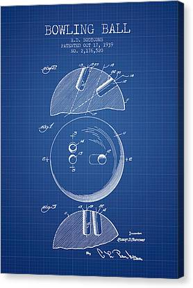 1939 Bowling Ball Patent - Blueprint Canvas Print by Aged Pixel