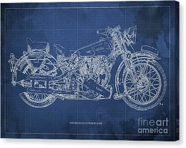 1939 Brough Superior Ss100 Blueprint Blue Background Canvas Print by Pablo Franchi