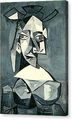 Chape Canvas Print - 1939 Buste De Femme Au Chape by Anne Pool