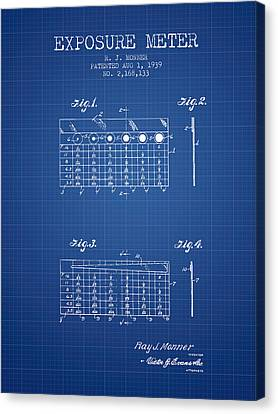 1939 Exposure Meter Patent - Blueprint Canvas Print by Aged Pixel