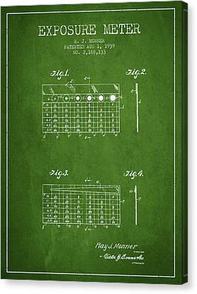 1939 Exposure Meter Patent - Green Canvas Print by Aged Pixel