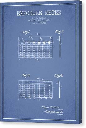 1939 Exposure Meter Patent - Light Blue Canvas Print by Aged Pixel