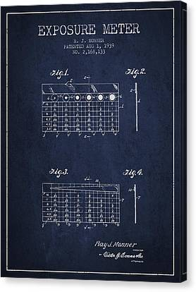 1939 Exposure Meter Patent - Navy Blue Canvas Print by Aged Pixel