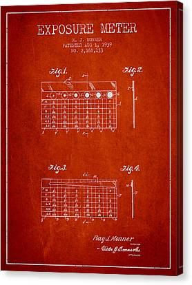 1939 Exposure Meter Patent - Red Canvas Print by Aged Pixel