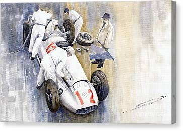 1939 German Gp Mb W154 Rudolf Caracciola Winner Canvas Print by Yuriy  Shevchuk