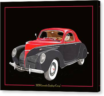 1939 Lincoln Zephyr Coupe Canvas Print by Jack Pumphrey